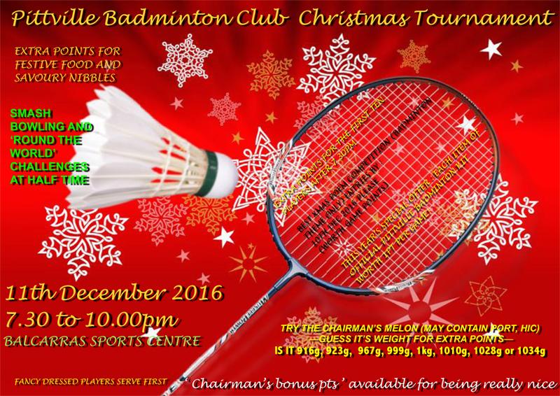 Pittville Badminton Club Christmas Tournament 2016