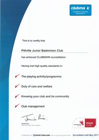 Pittville Badminton Club's Clubmark and Premier Club Certificate
